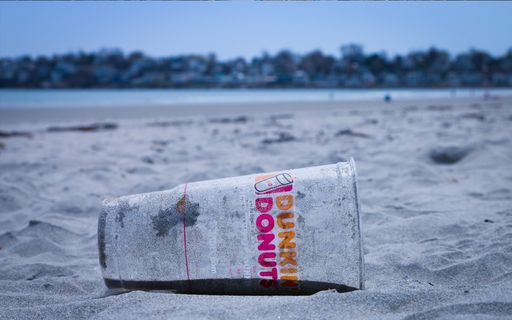 disposable cup lying on the beach