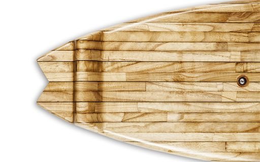End shot of a wooden fishtail surfboard